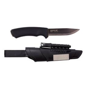 "Morakniv Bushcraft Survival Knife - Carbon Steel Blade  Black Rubber Handle  Black Sheath and Firestarter  4.3"" Blade and 9.1"" Overall Length"