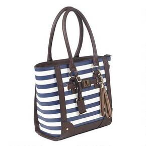 Bulldog Tote Style Purse w/Holster - Navy Stripe