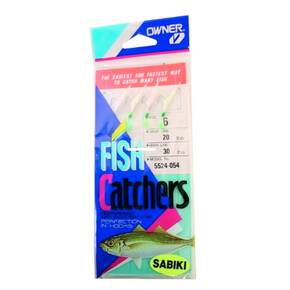 Owner Sabiki Silver Rainbow Skin Fish Hooks Size 6 4pk - Nickel