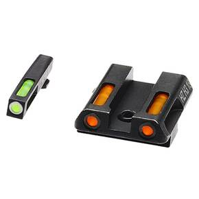 HiViz LiteWave H3 Tritium Litepipe Night Sight For Glock 42 & 43 - Green Front w/White Front Ring Orange Rear