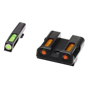 HiViz LiteWave H3 Tritium Litepipe Night Sights For Glock 9mm .40 S&W & .357 Sig - Green Front w White Ring Orange Rear