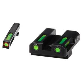 HiViz LiteWave H3 Tritium Litepipe Night Sights For Glock 9mm .40 S&W & .357 Sig - Green Front w Orange Ring Green Rear