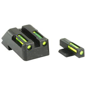 HiViz LiteWave H3 Tritium LitePipe Night Sights For 1911s - Green Front w White Ring Green Rear