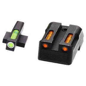 HiViz LiteWave H3 Tritium LitePipe Night Sights For 1911s - Green Front w White Ring Orange Rear