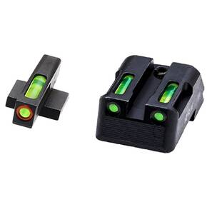 HiViz LiteWave H3 Tritium LitePipe Night Sights For 1911s - Green Front w Orange Ring Green Rear