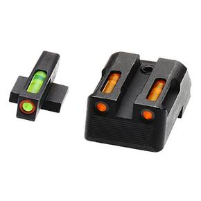 HiViz LiteWave H3 Tritium LitePipe Night Sights For 1911s - Green Front w Orange Ring Orange Rear