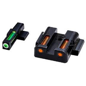 HiViz LiteWave H3 Tritium LitePipe Night Sight For S&W M&P Shield Pistol - Green Front w White Ring Orange Rear