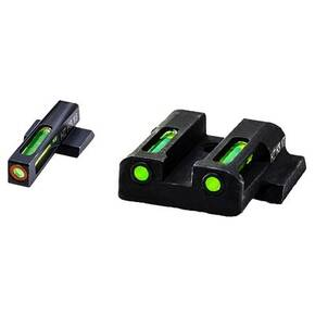 HiViz LiteWave H3 Tritium LitePipe Night Sight For S&W M&P Shield Pistol - Green Front w Orange Ring / Green Rear