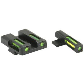 HiViz LiteWave H3 Tritium LitePipe Night Sight For Springfield XD XDS XDE & XD-M - Green Front w White Ring / Green Rear