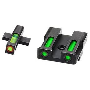 HiViz LiteWave H3 Tritium LitePipe Night Sight For Springfield XD XDS XDE & XD-M - Green Front w Orange Ring / Green Rear