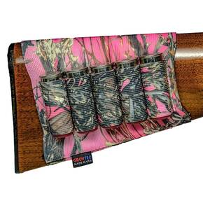 Grovtec Buttstock Cartridge Shotgun Shell Holder Open Style - True Timber Pink