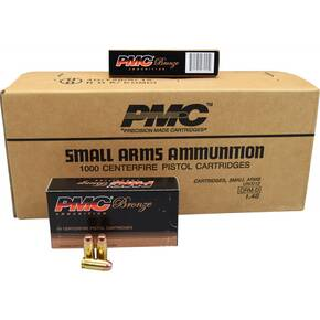 PMC Bronze 40 S&W Handgun Ammunition 180 gr FMJ 985 fps 1000/case