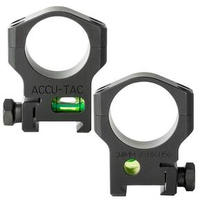 Accu-Tac 34mm Scope Rings with Bubble Level - Matte Black