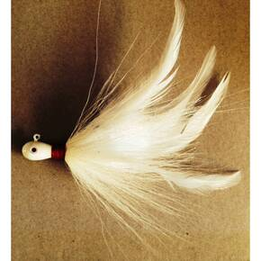 Cumberland Pro Prayer Hair Jig Lure 5/8 oz - Red Thread/White Pearl Shimmer