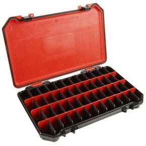 Bass Mafia Bait Coffin 3700 Storage Tray 48 Adjustable Compartments - Red/Black