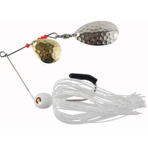 "Tim Poe Thunder Lures Double Blade Spinnerbait 1/8 oz 1-1/2"" - Indiana Nickel Colorado Gold/White"