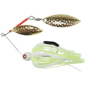 "Tim Poe Thunder Lures Double Blade Spinnerbait 1/4 oz 3-1/2"" - Willow Gold/Chartreuse & White"