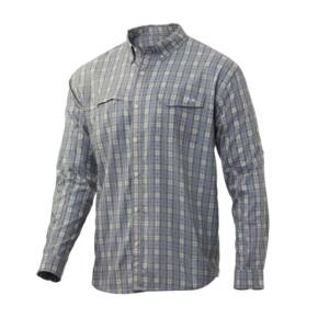 Huk Tide Point Woven Fish Plaid LS Mens
