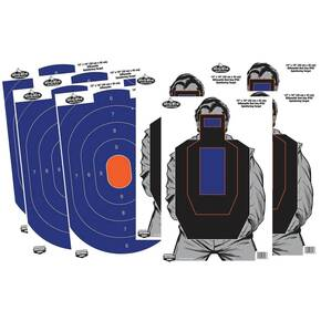 "Birchwood Casey Dirty Bird Combo 12""x18"" 4-Blue/Orange Oval & 4-Bad Guy IPSC Silhouette"