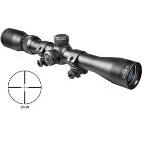 "Barska Plinker-22 Rifle Scope with 3/8"" Rings - 3-9x32mm 30/30 Reticle 36-13' FOV 3.5"" ER Matte"