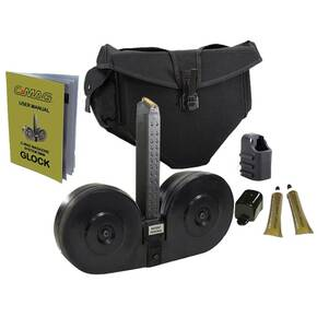 C-Mag Magazine System Magazine Cover, Personal Loader, Pouch, Technical Manual, Graphite Tube, 100/rd 9mm Glock 17, Black Cover