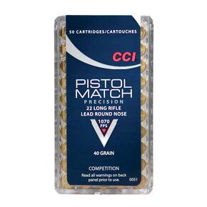 CCI .22 Long Rifle Pistol Match Precision Rimfire Ammunition .22 LR 40 gr LRN 1070 fps 50/box