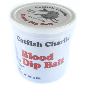Catfish Charlie Dip Bait Catfish Lure Dough 12 oz - Catfish Blood