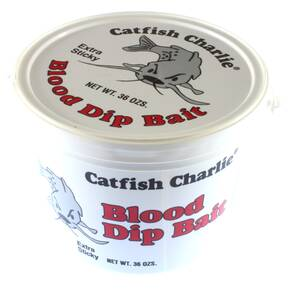 Catfish Charlie Dip Bait Catfish Lure Dough 36 oz - Catfish Blood