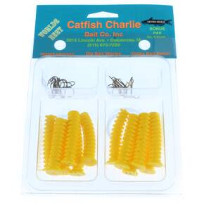 Catfish Charlie Dip Bait Kit - 12pk Yellow Worms & Treble Hooks