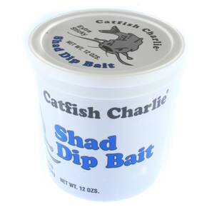 Catfish Charlie Dip Bait Catfish Lure Dough 12 oz - Shad