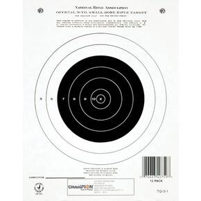Champion Official NRA Targets GTQ-3/1, 50 yd.,  Small Bore Rifle, Single Bull, 12/Pack