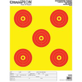 Champion Shotkeeper Targets Yellow & Red  5 Bull, Large, 12/Pack