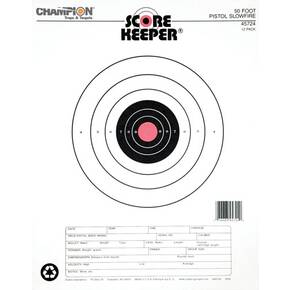 Champion Scorekeeper Targets Fluorescent Orange Bull - 50 ft. Pistol Slow Fire, 12/Pack