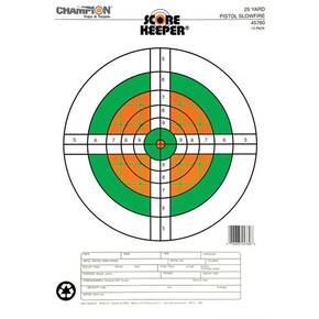 Champion Scorekeeper Targets Fluorescent Orange & Green Bull - 25 yd. Pistol Slow Fire, 12/Pack