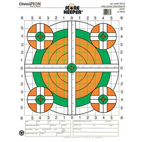 Champion Scorekeeper Targets Fluorescent Orange & Green Bull - 100 yd. Rifle Sight-In, 12/Pack