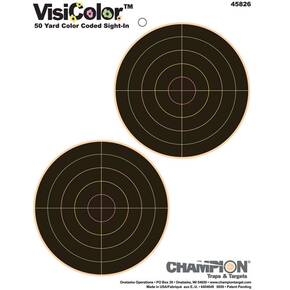 "Champion VisiColor High-Visibility Paper Targets 5"" Double Bull, 10/Pack"