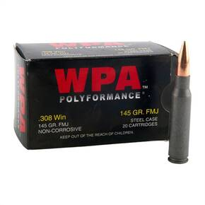 Wolf WPA Polyformance Rifle Ammunition .308 Win 145 gr FMJ  - 20/box