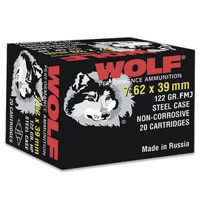 Wolf WPA Polyformance Rifle Ammunition 7.62x39mm 122 gr FMJ 2936 fps - 20/box