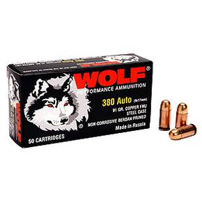 Wolf Polyformance Handgun Ammunition .380 ACP 91 gr FMJ 1010 fps 50/box