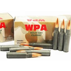Wolf Military Classic Ammunition .308 Win 145 gr FMJ 2745 fps - 20/box
