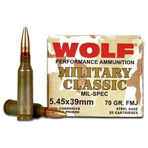 Wolf WPA Military Classic Rifle Ammunition 5.45x39mm 60 gr FMJ 2330 fps - 25/box