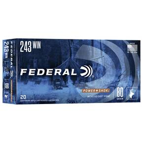 Federal Power-Shok Rifle Ammunition .243 Win 80 gr SP 3330 fps - 20/box