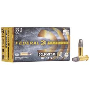Federal Premium Gold Medal HV Rimfire Ammunition .22 LR 40 gr SLD 1200 fps 50/box