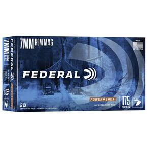 Federal Power-Shok Rifle Ammunition 7mm Rem Mag 175 gr SP 2860 fps - 20/box
