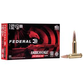 Federal American Eagle Rifle Ammunition .308 Win 168 gr OTM 2650 fps - 20/box