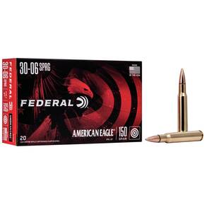 Federal American Eagle Rifle Ammunition .30-06 Sprg 150 gr FMJBT 2910 fps - 20/box