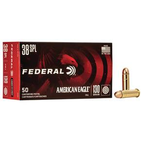 American Eagle Handgun Ammunition .38 Spl 130 gr FMJ 890 fps 50/box