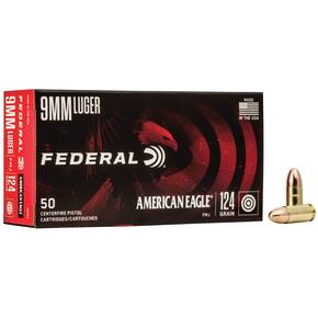 American Eagle Handgun Ammunition 9mm Luger 124 gr FMJ 1150 fps 50/ct
