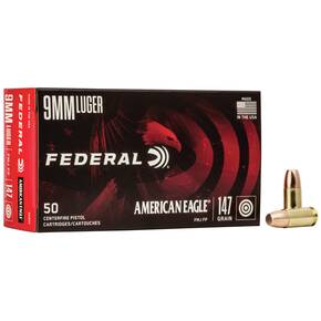 American Eagle Handgun Ammunition 9mm Luger 147 gr FMJ 1000 fps 50/ct