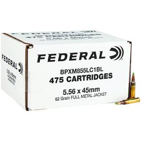 Federal XM855 Green Tip 5.56 mm 62 gr FMJ-BT 3160 fps 475/ct